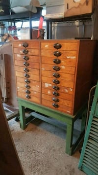 Vintage Industrial drawer unit with table base. Attleboro, 02703