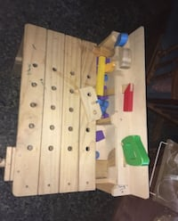 Wooden tool bench for kids
