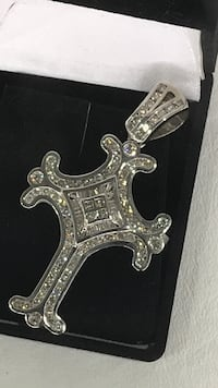 silver-colored diamond encrusted cross pendant with box Metairie, 70002