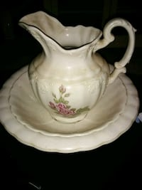 white and pink floral ceramic pitcher Lenoir