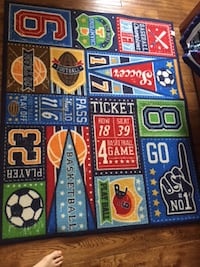 $65 Kids Boys Soccer Basketball, Football 4 1/2 X3 3/4 Room Rug-Burlington Burlington