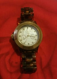 CHINE AVON.Round chronograph watch with link strap Hamilton