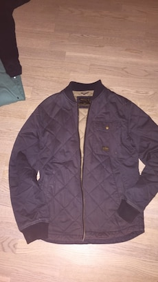gray quilted jacket