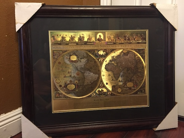 Used framed gold foil blaeu wall map of old and new world for sale framed gold foil blaeu wall map of old and new world publicscrutiny Images