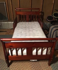 Wooden Toddler Sleigh Style Bed + Mattress North Chesterfield, 23235