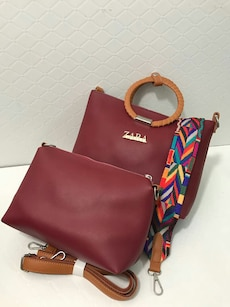 two red leather Zara bags