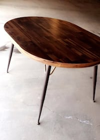 Oval brown woodentable