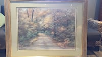 Brown wooden framed painting of trees Georgetown, L7G 1X6