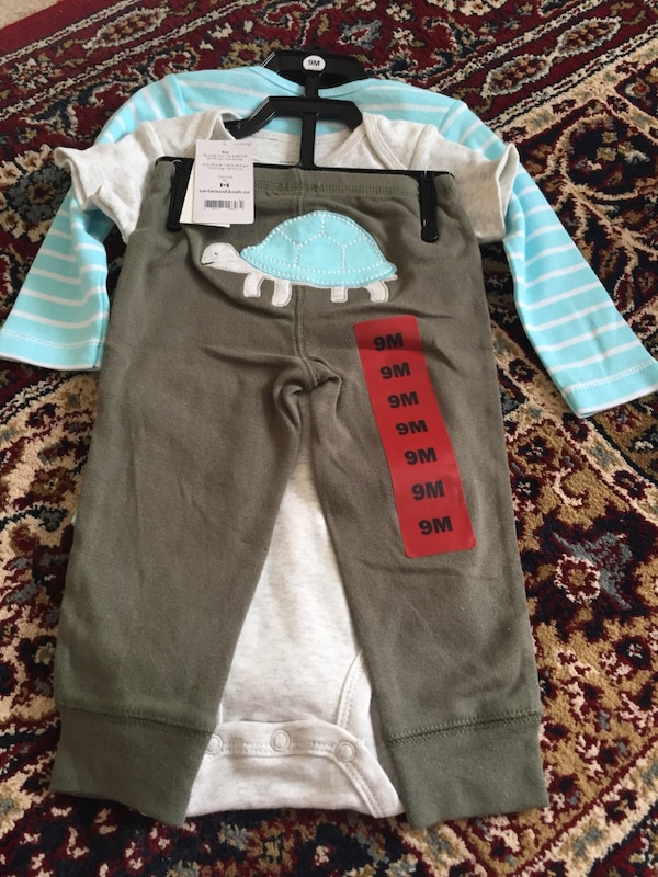 Toddler's blue and gray long-sleeved and t-shirt onesies and gray sweat pants 9d3ace8f-635f-4f25-ab36-66e4c8c21d5f