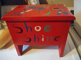 solid wood shoe shine box opens up
