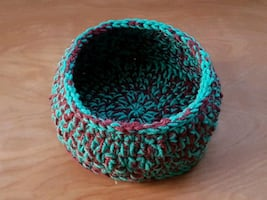 New Handmade Basket - crochet, acrylic yarn, washable