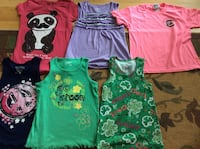 Girl's summer clothes, shirts, shorts, bathing suit