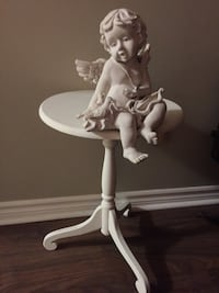 white wooden pedestal table with white wooden base Essa, L0M