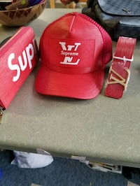 red Supreme X Louis Vuitton trucker hat, leather belt, and leather long wallet Fort Erie, L2A 2L9