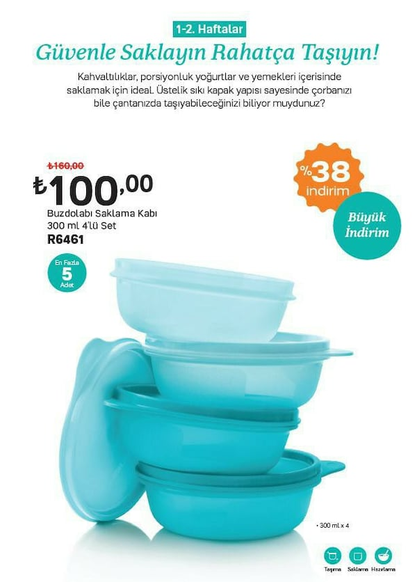 Tupperware 300ml.saklama kapları 1a543170-44d7-47fa-8300-4980e5adeed6