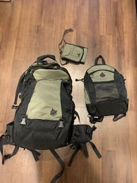 Women's Hiking/Travel Backpack with Daypack and Travel Wallet Set