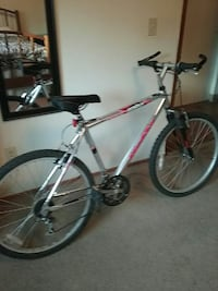 gray and red hardtail mountain bike