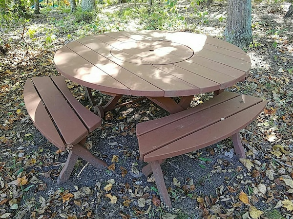 Groovy Round Brown Wooden Patio Table With Two Benches Gmtry Best Dining Table And Chair Ideas Images Gmtryco