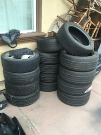 """4 lug wheels / tires / burners / i have four 4 lug universal wheels 17"""" with 205 45 tires on, 4 brand new 205-45-17 and 6 used 225-50-17 with about 70% thread  Richmond, 94806"""