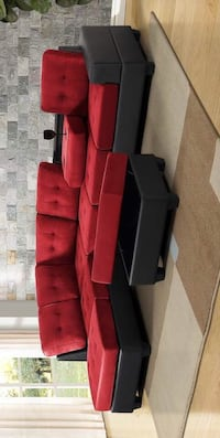 CLEARANCE] Heights Red/Black Reversible Sectional with Storage Ottoman Houston, 77036