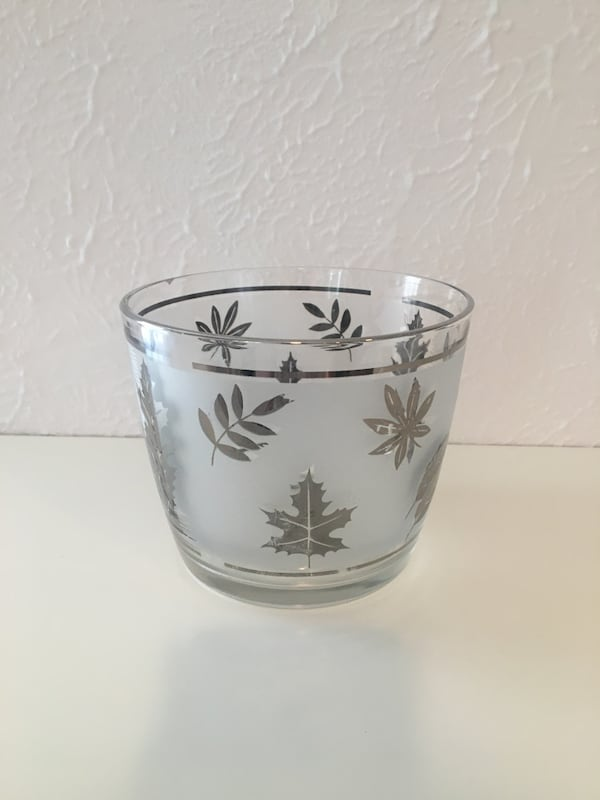 Vintage 1960's Autumn Frosted Glass set and Serving Bowl 478538a6-4c9e-4eb8-99dc-a3ce1c477bc7