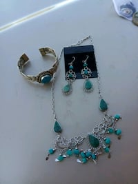 silver and blue beaded necklace Anderson, 96007