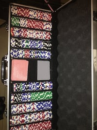 Poker chips and cards with case.