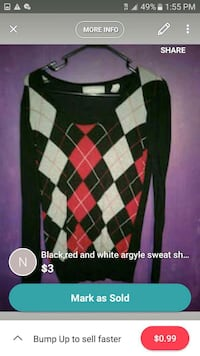 black, red, and gray argyle knit sweater screensho South Bend