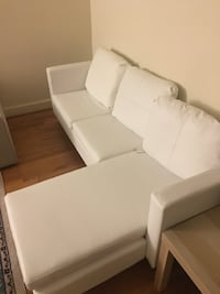 White leather sofa shaped L New... 99% good condition  Bethesda, 20814