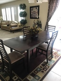Espresso rectangular brown wooden table with 4 cha CORONA
