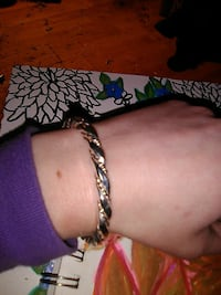 silver-and white gold rope bracelet