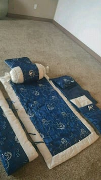 blue and white floral bed sheet Chestermere, T1X 1S5