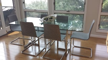 CB2 Pony Tweed 6 chairs - As New