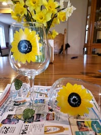 Handpainted Sunflower Wine Glasses Brooklandville, 21093