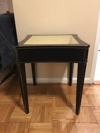 Vintage solid wood end table with glass container