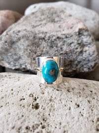 925 Sterling Silver Natural Turquoise Ring - Size 8 Burlington