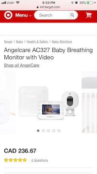 Angel care baby breathing monitor and video Welland, L3C 5A8