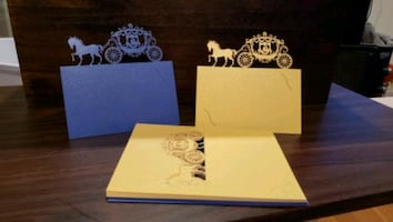 Cinderella carriage pearl place card for wedding bridal shower party