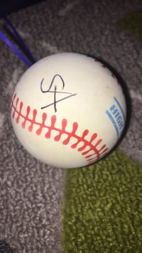 white and red baseball ball with signature Bethesda, 20814