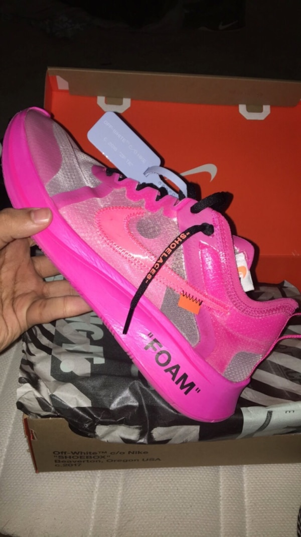 10dbf549 Used Size 9 [Off White Nike Zoom Fly] Perfect condition, barely worn, comes  with original box, StockX verification tag, black and pink Off-White laces.  for ...