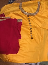 Yellow and red unstitched suit with golden embroidery  Brampton, L6Z 1W1