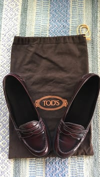 Pair of burgundy leather Tod's loafers