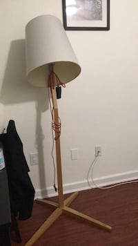 white and brown floor lamp
