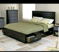 New Queen Bed with Leather Headboard n Storage Toronto, M9V