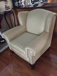white and gray striped fabric sofa chair Toronto, M4J 1L1