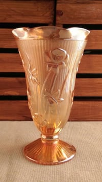 "9"" PEACH IRIS DEPRESSION VASE Commerce City, 80022"