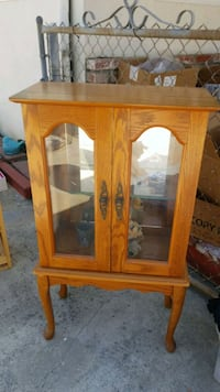brown wooden framed glass cabinet Los Angeles, 90032