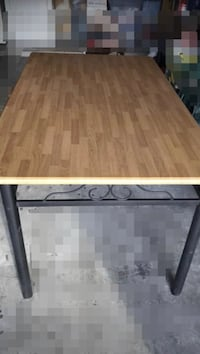 Kitchen table with rod iron frame and chairs 5 x 3 foot table top