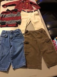 Boys Size 18 Months 3 Pair of Pants & 2 Long Sleeve Shirts  699 mi