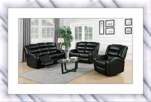 Faux black leather recliner. Sofa and loveseat
